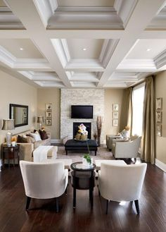 Coffer ceiling , Beautiful detail, ELEGANT DECOR [I want to live here] EVERTHING IS Fabulous...