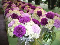 Pinned for the colours, very pretty. 'Table centerpieces, hydrangeas and purple and lavender carnations' Hydrangea Bridal Bouquet, Carnation Bouquet, Carnations, Wedding Bouquets, Orchid Centerpieces, Wedding Centerpieces, Table Centerpieces, Floral Wedding, Wedding Colors