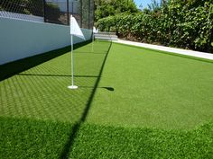 Putting green with artificial turf.