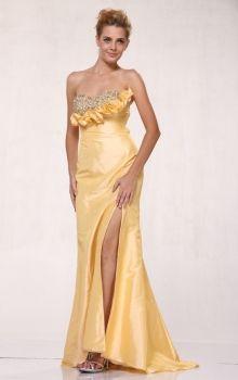 Yellow Sheath/Column Strapless,Sweetheart Empire Long/Floor-length Sleeveless Crystal Taffeta Sweep/Brush Train Prom Dresses Dress