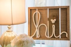 """hi"" tabletop sign with a little hidden Mickey!"