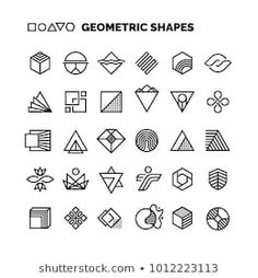 Universal black and white geometric vector shapes isolated for graphic design. Art Deco Design, Icon Design, Material Design, Mining Logo, Art Deco Logo, Minimal Logo Design, Graphic Design, Typo Poster, Geometry Shape