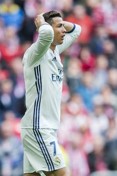 Cristiano Ronaldo of Real Madrid reacts during the La Liga match between Athletic Club Bilbao and Real Madrid at San Mames Stadium on March 18, 2017 in Bilbao, Spain.