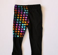 Recycled T Shirt Baby Leggings with Awesome Foil Hearts