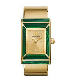 Tory Burch Robinson Watch, Limited Edition, Gold-tone/malachite, 38 X 25 Mm (=)