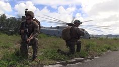 Marines with Battalion Landing Team 2nd Battalion, 4th Marine Regiment, 31st Marine Expeditionary Unit conduct a helicopter-borne raid exercise to secure Orote Airfield, onboard U.S. Naval Base Guam, while participating in exercise Valiant Shield 2016.