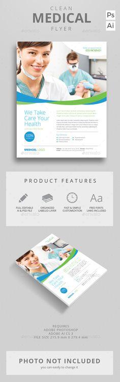 Clean Medical Flyer Template PSD, AI #design Download: http://graphicriver.net/item/clean-medical-flyer/12991906?ref=ksioks