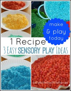 Learn how to dye rice for coloring sensory play materials. Fill sensory bins with easy colored rice the kids will love to touch! Sensory Play Recipes, Sensory Activities, Toddler Activities, Indoor Activities, Sensory Tubs, Sensory Boxes, Preschool Activities, Kindergarten Sensory, Rainbow Activities