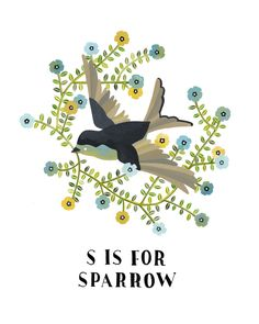 S is for Sparrow, art print, illustration, pretty colours, rebekka seale