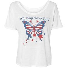 All American Girl Butterfly Simple Tee Love To Shop, I Shop, All American Girl, Red White Blue, Butterfly, Small Businesses, Simple, Tees, Casual
