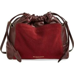 Pre-Owned Burberry Little Crush Red Grainy Leather Drawstring Clutch... ($696) ❤ liked on Polyvore featuring bags, handbags, clutches, red, red purse, convertible purse, red leather purse, slouchy leather handbags and drawstring purse