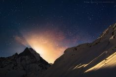 Moonlight Pearls by Anton Jankovoy on 500px  moonrise over Machhaphuchhre from Annapurna Base Camp