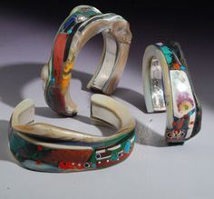 Joseph Gatto - Bracelets Sterling silver, mother-of-pearl, porcelain fragments, chrysocolla, turquoise, ebony,  pink ivory, dyed coral,  micro mosaic fragments