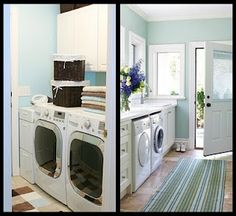 Turquoise and brown laundry room with white furniture