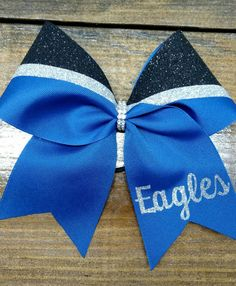 Custom cheer bow with your school/team name and by CraftyOhBows