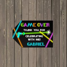 Laser Tag Favor Tag, Neon Laser Tag Party Goody Bag Tags, Party Favor Tags, Printable Thank you Tags