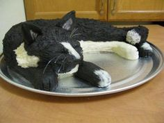 Cat Cake: I made this cat cake out of two 9x13 homemade cakes.  One chocolate and one white.  I frosted it completely with butter cream only, two toothpicks (to