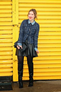 www.streetstylecity.blogspot.com  Fashion inspired by the people in the street ootd look outfit sexy high heels legs woman girl black leather skirt miniskirt pantyhose boots