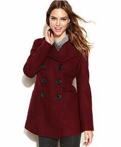 Bar III Coat, Double-Breasted Wool-Blend Pea Coat - Coats - Women - Macy's