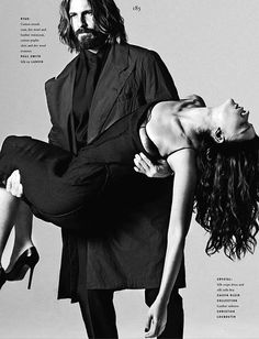 Ryan Burns and Crystal Renn.  Vogue Hommes International....I think his looks overwhelmed her...he is swoon worthy!