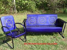 Illusion Blue Coated On A Vintage Heavy Metal Porch Patio Glider Swing