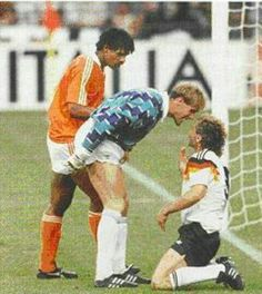 West Germany 2 Holland 1 in 1990 in Milan. Trouble flared in the 22nd minute between Frank Rijkaard, Hans van Breukelen and Rudi Voller in Round 2 #WorldCupFinals