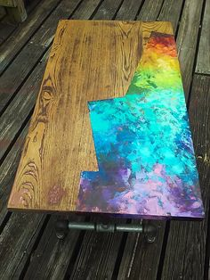 Ready to ship! graffiti style, street art rainbow and natural reclaimed oak woo… Ready to ship! graffiti style, street art rainbow and natural reclaimed oak wood coffee table with pipe legs. Pallet Furniture Bar, All Modern Furniture, Pipe Furniture, Funky Furniture, Handmade Furniture, Upcycled Furniture, Refurbished Furniture, Furniture Ideas, Painting Antique Furniture