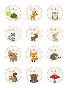 """Woodland Friends Forest Animals Theme Baby Shower Thank Tags 2"""" - Printable File by TheLovelyMemories on Etsy https://www.etsy.com/listing/212548005/woodland-friends-forest-animals-theme"""