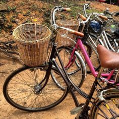 The original shape of the bicycle baskets in Siem Reap. Siem Reap, Cambodia