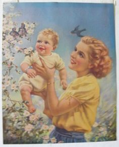 Mabel Rollins Harris Vintage Print Mother Love by catnapstudios, $16.00