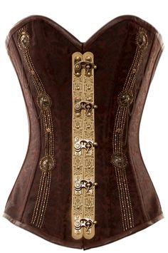 romantic brown steel boned corset
