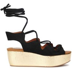 Womens Wedge Sandals See By Chloé Black Suede Flatform Sandals ($300) ❤ liked on Polyvore featuring shoes, sandals, suede lace up sandals, wedge heel sandals, black wedge heel sandals, black flatform sandals and suede wedge sandals