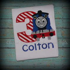 Thomas the Train applique birthday shirt by ClassicCityEmb on Etsy, $25.00