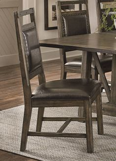 2 Crossroads Birch Smoke Solidwood Upholstered Dining Chairs