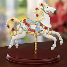 Carousel Statues:  Peridot & Poppies Carousel Horse Figurine by Lenox