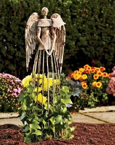 Attraction Design (ATTRG) Antiqued Metal Garden Angel Statue with Star Wand, Indoor Outdoor Angel Yard Art Decor Lawn Patio Decorations Holiday Decor Garden Art Angel Garden Statues, Garden Angels, Flower Trellis, Vine Trellis, Metal Trellis, Metal Lattice, Metal Yard Art, Metal Art, Antique Metal