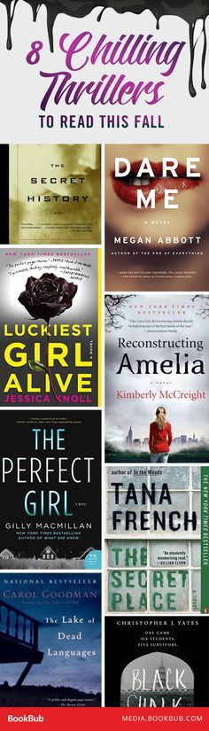 8 Chilling Back-to-School Thrillers for Fall - 8 suspenseful thriller books to read this fall. Books And Tea, I Love Books, Good Books, Books To Read, My Books, Fall Books, Book Suggestions, Book Recommendations, Reading Lists