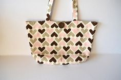 Love heart shoulder bag Pink brown hearts tote by RobynFayeDesigns