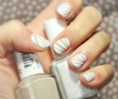 white nails with nude stripes