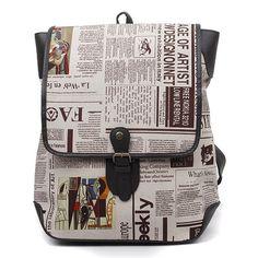 Corea Moda para hombre Mochila Escolar Bolsa Mareart Bookbag periódico del vintage Bolsa | eBay