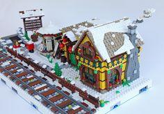 pub_mod04 | by sdrnet Lego Gingerbread House, Gingerbread Christmas Decor, Gingerbread House Designs, Christmas Ideas, Lego Christmas Village, Lego Winter Village, Lego Village, Legos, Casa Lego