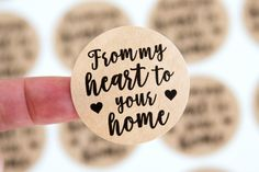 Happy Mail Stickers - Packaging Stickers - Handmade Business Stickers - From my Heart to your Home Craft Packaging, Packaging Stickers, Quilt Labels, Business Stickers, Label Paper, Wedding Favor Tags, Happy Mail, Handmade Items, Handmade Gifts