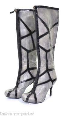 ALEXANDER-McQUEEN-PYTHON-SKIN-LEATHER-WEB-BOOTS-SHOES-UK-4-US-7-EU-37-RARE Wedge Boots, Shoe Boots, Stilettos, Heels, Shoes Uk, Python, Unique Fashion, Jimmy Choo, Alexander Mcqueen