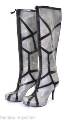 ALEXANDER-McQUEEN-PYTHON-SKIN-LEATHER-WEB-BOOTS-SHOES-UK-4-US-7-EU-37-RARE