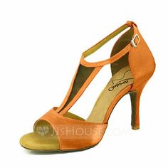 Women's Satin Heels Sandals Latin With Ankle Strap Hollow-out Dance Shoes (053103814)