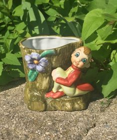 Gnome, Pixie Sitting on Tree Stump Porcelain Ceramic Vase, Planter, Pen Holder -  Mid Century, Vintage, Home Decor, Collectibles, Kitsch