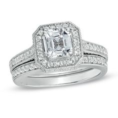 6.0mm Princess-Cut Lab-Created White Sapphire Fashion Ring in Sterling Silver - Size 7 @ zales for $249