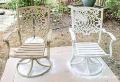 How To Paint Metal Patio Furniture When your patio furniture needs an update, learn how to paint outdoor metal furniture for an easy a Painting Patio Furniture, Painted Outdoor Furniture, Metal Patio Furniture, Outdoor Furniture Design, Outdoor Paint, Furniture Layout, Antique Furniture, Furniture Ideas, Painted Metal Chairs