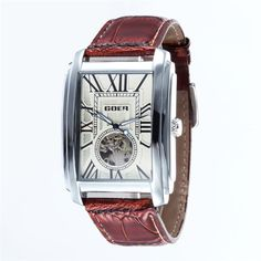 Relogio Masculino Top Brand Luxury Skeleton Watches Men Leather Band Rectangle Automatic Mechanical Wrist Watches For Men GOER Mens Watches Leather, Watches For Men, Men's Watches, Skeleton Watches, Men Dress, Vintage Fashion, Clock, Luxury, Dress Watches