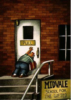 The best Far Side cartoon ever! Far Side Cartoons, Far Side Comics, Funny Cartoons, Cartoon Jokes, Funny Comics, Math Cartoons, Derp Comics, Gary Larson Far Side, Happy Facts
